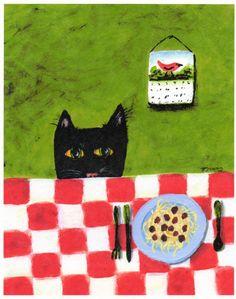 Folk Art Prints | Black Cat SPAGHETTI CAT abstract folk art print by by ToddYoungArt