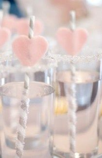 Gold (instead of silver) striped straw with pale pink heart...