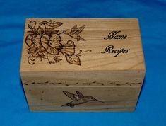 Decorative Recipe Box Decorative Wood Burned Wedding Recipe Card Box Rustic Wooden Owl