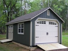 12'x20' Painted Garden Shed Garage with transom doors and Heritage garage door