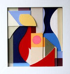 ;abstract contemporary art deco cubist modern original acrylic relief sculpture   | eBay
