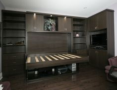 Full home office and bedroom in one (Hiddenbed) - bed position. See the desk hidden under the bed???
