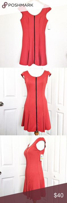 """Bar lll Red Dress You will look hot in this lipstick red dress by Bar lll.  Features capped sleeves and a black functional zipper. Material is 74% polyester 23% rayon and 3% spandex.  Measurements laid flat: bust 17"""", waist 14"""", hip 19"""", and length from top of shoulder to hem 33"""".  🚫No Trades🚫No Low Ball Offers🚫 Bar III Dresses Mini"""