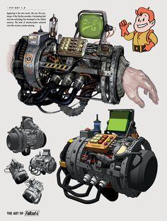 34 New Ideas Fallout Concept Art Armor Fallout 4 Concept Art, Fallout 4 Weapons, Fallout 4 Funny, Fallout Props, Fallout Fan Art, Fallout Cosplay, Fallout New Vegas, Weapon Concept Art, Pip Boy