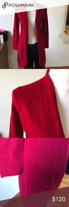 Ply cashmere duster Luxurious cashmere duster in dark cranberry red. Versatile and chic. Over a simple black dress or with jeans. Length 35 inch. Retails $335 plus tax. New with tags Sweaters Cardigans
