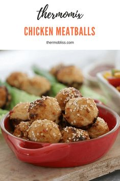 Delicious Oven Baked Thai Chicken Meatballs served in lettuce leaves with a sweet chilli dipping sauce. Fast, fresh and yummy. Lunch Box Recipes, Baby Food Recipes, Cooking Recipes, Chicken Recipes Thermomix, Recipes Dinner, Free Recipes, Keto Recipes, Dinner Ideas, Snack Recipes