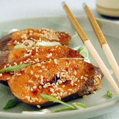 Miso-Garlic Broiled Eggplant Recipe Side Dishes with mirin, yellow miso, peeled fresh ginger, dark sesame oil, crushed red pepper, garlic cloves, japanese eggplants, cooking spray, sesame seeds, sliced green onions