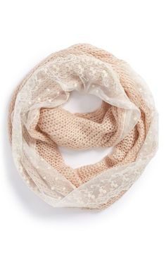 BP. Lace Edge Pointelle Infinity Scarf (Juniors) available at #Nordstrom