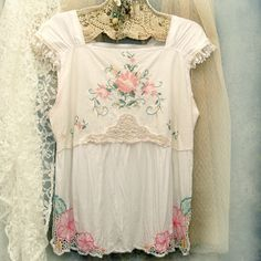Ladies Loose Fitting Petite Blouse, Embroidered Smock Top, Custom Made Front by Resurrection Rags, via Flickr
