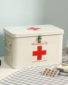 Medicine Storage Box With Lock Large Size White, White, Orange | VIPme