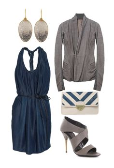 All I need is a gray sweater to turn my blue summer dress into a chic fall look. #loveshoppingmycloset