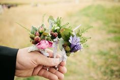 Berry boutonnieres - Wedding in a Field (South Melbourne) by Louisa Bailey - via ruffled
