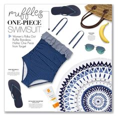 """""""Ruffled Up Swimwear"""" by kellylynne68 ❤ liked on Polyvore featuring The Beach People, La Roche-Posay, Havaianas, Tiffany & Co., swimsuit, ruffles, target, onepiece and ruffledswimwear"""