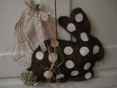 Burlap Door Hanger Bunny with Tail Chocolate Bunny. $28.00, via Etsy. by Karenlolly