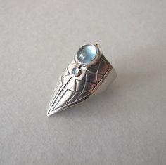 Celtic Claw Blue Topaz Silver Ring ~ SHIRLI FANTASY