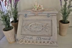 French Provincial Farmhouse Shabby Chic Vintage White Wooden Bread Box