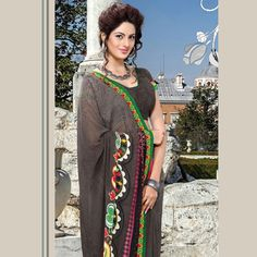 Dark Grey Faux Georgette Saree with Blouse