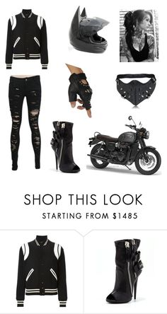 """biker"" by fabulousmkm16 on Polyvore featuring Yves Saint Laurent, Giuseppe Zanotti and Ultimate"