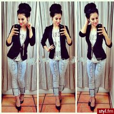 Light jeans + black blazer