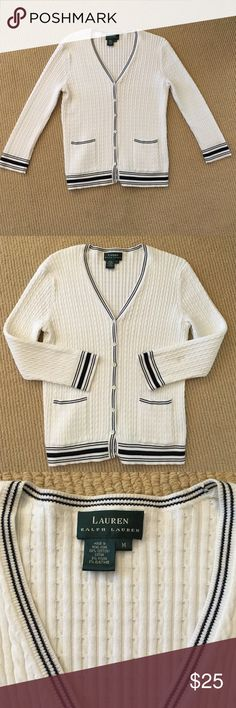 🎉SALE! Ralph Lauren Cardigan Adorable cable knit cardigan with preppy striped detail // perfect for fall to pair with jeans or over a dress. Wear it buttoned up or open! Was a size medium but shrunk a bit so fits more like a small. Ralph Lauren Sweaters Cardigans