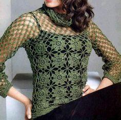 Jersey de Red con Bufanda Incorporada Patron - Patrones Crochet