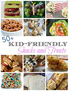 50+ Kid-Friendly Snacks and Treats — this is perfect for summer and for when school starts! saving!!