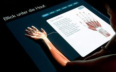 Interactive medical exhibit incorporates projection onto ones body part to further learn and engage with content. Interactive Exhibition, Interactive Design, Interactive Display, Exhibition Display, Medical Technology, Science And Technology, Medical Science, Technology Articles, Energy Technology