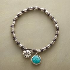 """HILLTRIBE KNOTTED BRACELET -- Hilltribe artisans handcraft these sterling silver beads, making each slightly unique. Together on a knotted leather bracelet, they shimmer alongside a sterling silver-framed amazonite, blue as the sea. Thai silver button closure. Exclusive. 7-1/2""""L."""