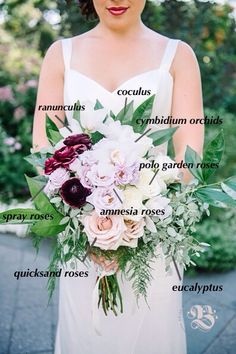 """Natural & Upscale Bohemian Bouquet Recipe: Bride Alison wanted wedding flowers in harmony with her romantic, outdoor venue. We composed her multi-dimensional, loose bridal bouquet amnesia and quicksand roses, white cymbidium orchids and dark purple ranunculus, framed with elegant greenery.  """"They completely nailed my vision, in fact they far exceeded my imagination. I was inundated with compliments on my bouquet!"""" Photo by Aaron & Jillian."""
