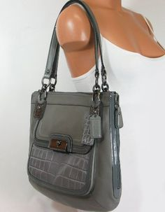 Coach Kristin Spectator Leather Zip North South Tote Bag Grey Multi 18303