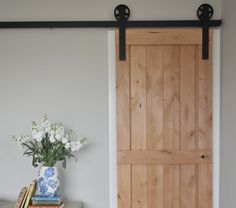 Vertical Plank Barn Door with Large Sliding Wheel Barn Door Hardware Kit