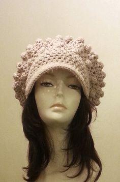Crocheted Beret Hat  Slouch Hat   Crochet Beige ♡ by jazzicrafts
