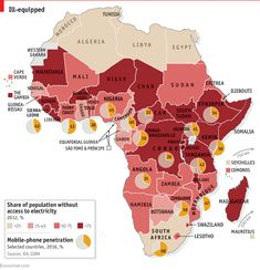 In much of sub-Saharan Africa, mobile phones are more common than access to electricity - Daily chart Human Geography, Africa Map, African Countries, Guinea Bissau, African History, Ivory Coast, Sierra Leone, Congo, Ethiopia