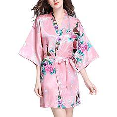 c8a2427edff Peignoir Femme Fashion Elégante Confortable Fleur Motif Eté Pyjama Mode  Chic Satin Kimono Manches 3 4 V-Cou Vêtement De Nuit Chemise De Nuit avec  Ceinture ...
