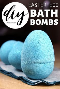 The perfect non-candy Easter basket fillers, these DIY Easter egg bath bombs add fun bubbles, color and sparkling glitter to your bath time experience. Diy Beauty Projects, Diy Craft Projects, Diy Crafts, Craft Ideas, Large Plastic Easter Eggs, Babassu Oil, Bath Bomb Recipes, Diy Easter Decorations, Bath Time