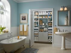 Turn your bathroom into the ultimate oasis with an organized #MasterSuite closet space from ClosetMaid.