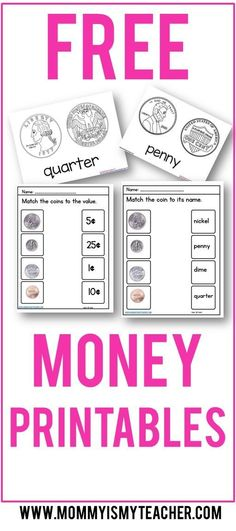 Wow, look at all these free math printables for preschool, kindergarten, and first grade. These money worksheets are great!