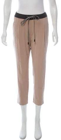 Tan Brunello Cucinelli silk mid-rise straight-leg sweatpants with four pockets, tonal stitching throughout, elasticized waist and drawstring closure at center front. Athletic Pants, Brunello Cucinelli, Sweatpants, Legs, Silk, Fashion, Moda, Fashion Styles, Jumpsuits