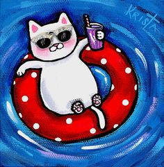 Shop for cat art from the world's greatest living artists. All cat artwork ships within 48 hours and includes a money-back guarantee. Choose your favorite cat designs and purchase them as wall art, home decor, phone cases, tote bags, and more! Crazy Cat Lady, Crazy Cats, I Love Cats, Cool Cats, Easy Canvas Painting, Space Cat, White Cats, Dog Art, Cats And Kittens