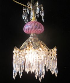 1O2 Octopus Inspir Crystal Ceiling Canopy Lamp Chandelier Fenton Cranberry Glass | eBay