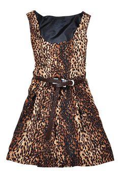 ROMWE | ROMWE Leopard Print Belted Slim Dress, The Latest Street Fashion