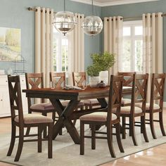 New Warsaw 9 Piece Extendable Dining Set. Kitchen Dinings Room Furniture from top store Dining Room Sets, Kitchen Dining Sets, 3 Piece Dining Set, Pub Table Sets, Dining Room Design, Interior Design Kitchen, Dining Room Table, Bar Tables, Kitchen Tables