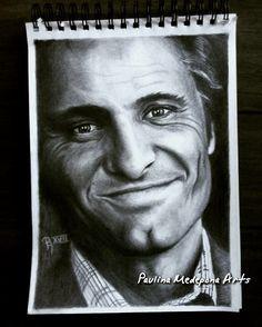 Viggo Mortensen pencil portrait by Paulina Medepona Arts
