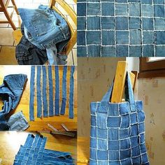 Use your old jeans denim bag- but make an area rug instead?