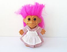 Russ 5 inch Troll, Vintage Troll with Bright Pink Hair, Troll Doll with Striped Dress and Apron, 00287