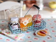 Miniature Shabby Jam Basket by CuteinMiniature on Etsy