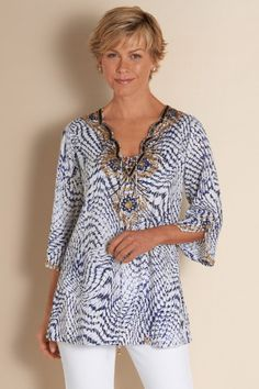 South Beach Tunic - Sequin Tunic Top, Womens Tunic Blouse, Blue Tunic Top | Soft Surroundings