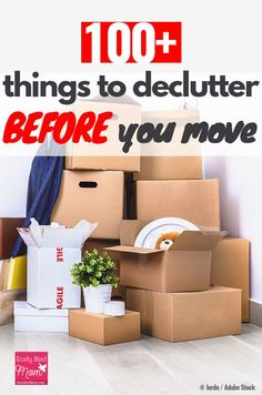 Moving Packing a house, apartment, or even downsizing can be super stressful, but if you declutter b Moving List, Moving House Tips, Moving Checklist, Moving Home, Moving Day, Moving Hacks, Tips For Moving House, Declutter Home, Declutter Your Life