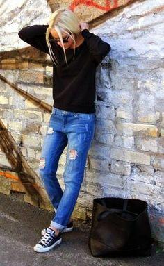 black sweater + distressed denim + black sneakers