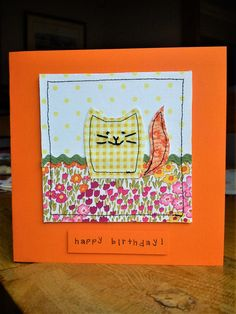 Handmade machine sewn & embroidered cat birthday card made with Laura Ashley & Moda fabric & ribbon